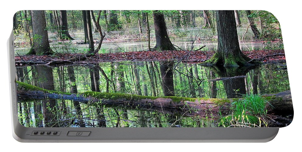 Wetland Forest Landscapes Chesapeake Bay Wetland Forest Endangered Mature Forest Habitat Maryland Wetland Forest Save The Bay Treasure The Chesapeake Wet Woodland Endangered Habitats Conservation Colorful Reflections Forest Reflections Nature Prints Portable Battery Charger featuring the photograph Forest Wetland by Joshua Bales