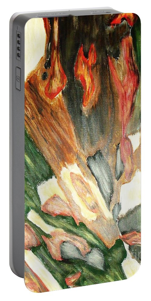 Abstract Portable Battery Charger featuring the painting Forest by Yael VanGruber