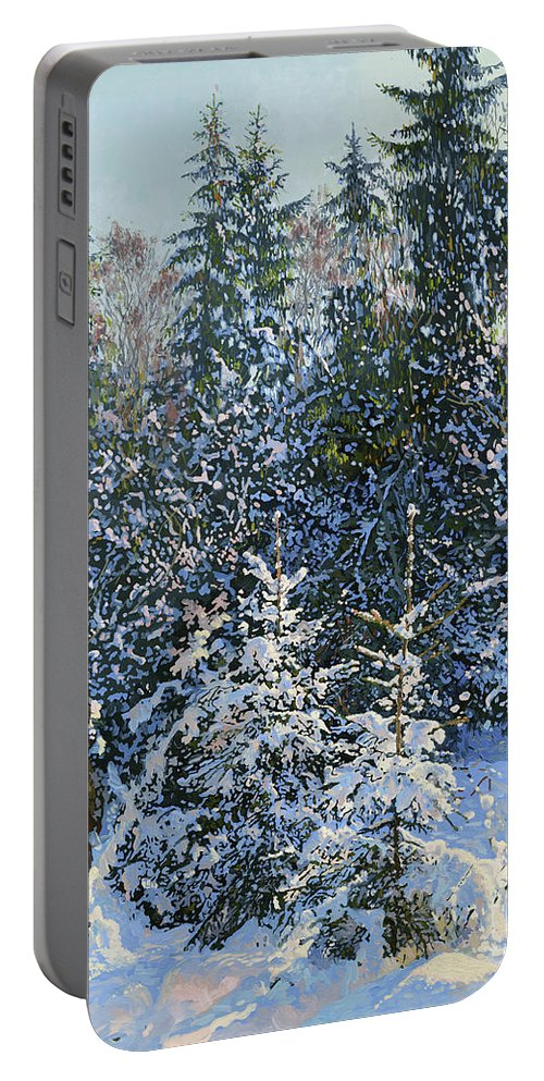Winter Portable Battery Charger featuring the painting Forest's Fairy-tale. by Simon Kozhin