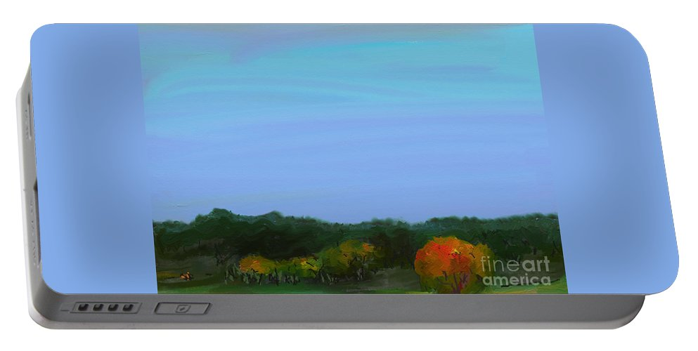 Impressionism Portable Battery Charger featuring the painting Foret Automnale by Aline Halle-Gilbert