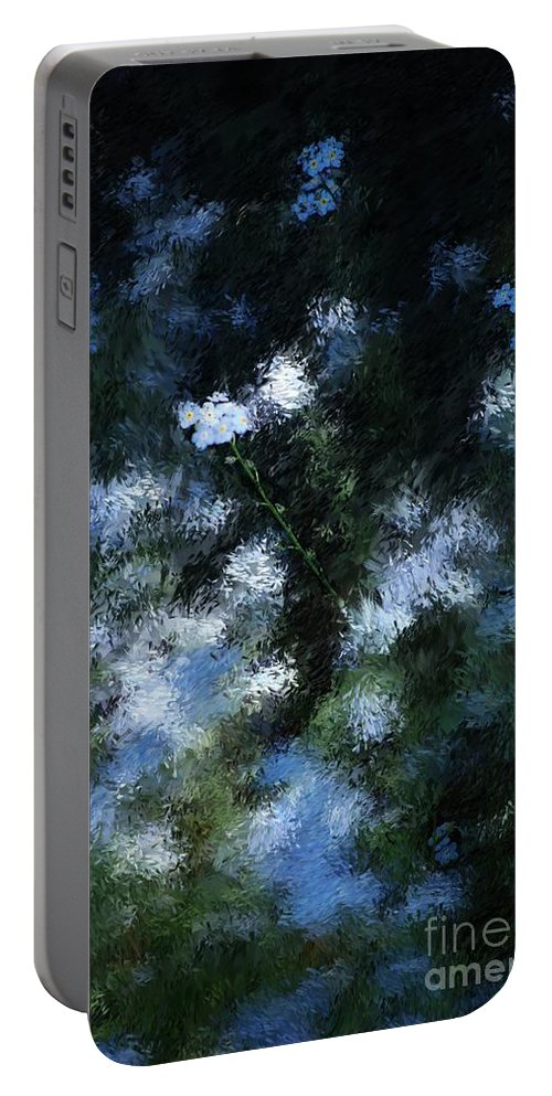 Abstract Portable Battery Charger featuring the digital art Forget Me Not by David Lane