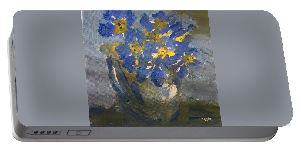 Flowers Portable Battery Charger featuring the painting Forget Me Nots by Mary Jo Hopton