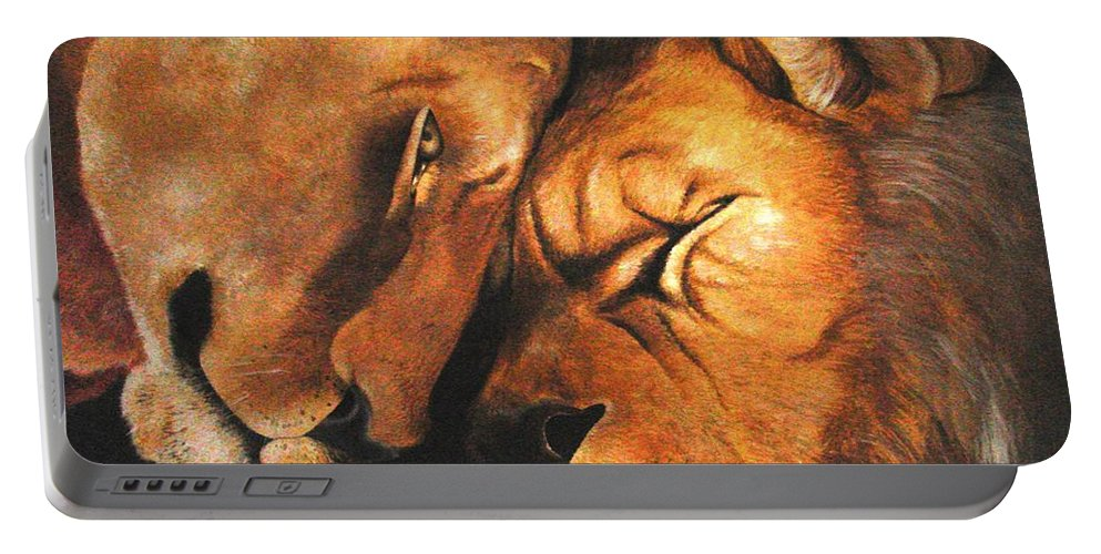 Lion Portable Battery Charger featuring the painting Forgiven by Glory Fraulein Wolfe