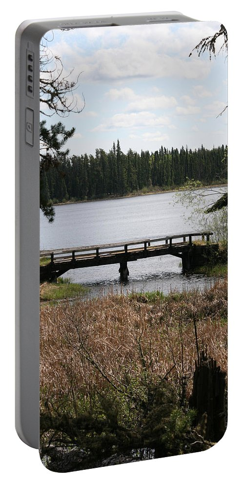 Lake Water Scenery Bridge Flooding Forest Nature Beauty Trees Portable Battery Charger featuring the photograph Forgotten by Andrea Lawrence