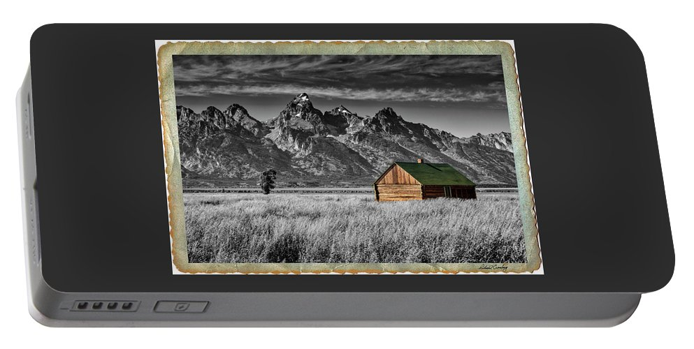 Grand Tetons Portable Battery Charger featuring the photograph Forgotten Cabin by Richard Cronberg