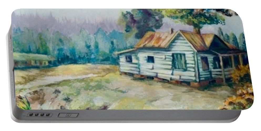 Old Houses Portable Battery Charger featuring the painting Forgotten Places II by Elisabeta Hermann