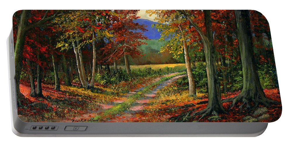 Landscape Portable Battery Charger featuring the painting Forgotten Road by Frank Wilson
