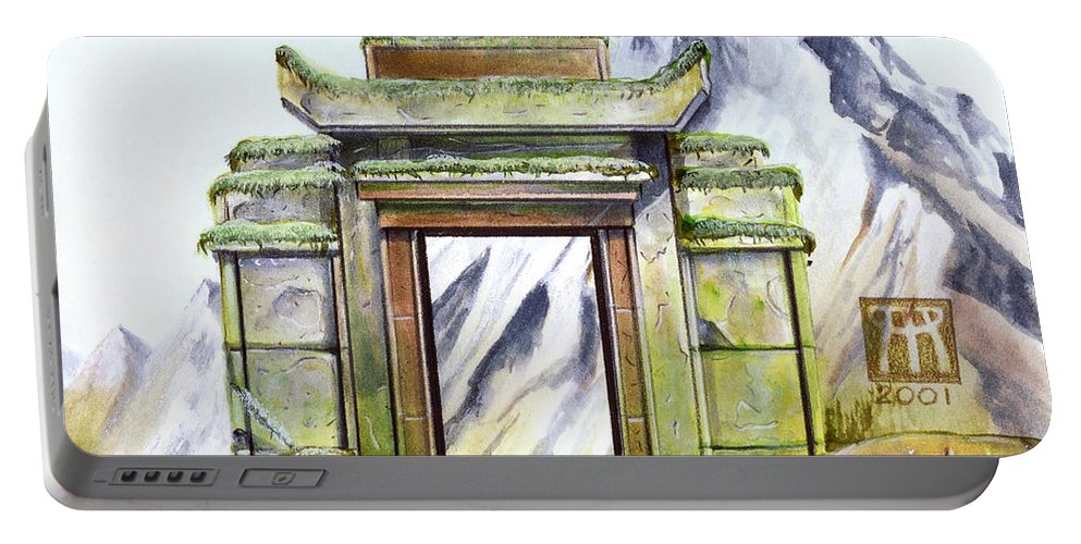 Shrine Portable Battery Charger featuring the painting Forgotten Shrine by Melissa A Benson