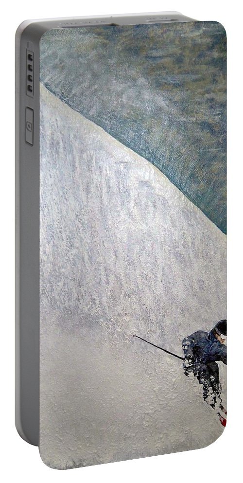 Landscape Portable Battery Charger featuring the painting Form by Michael Cuozzo