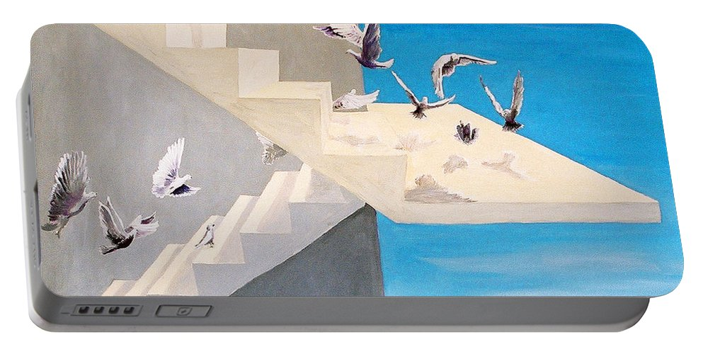 Birds Portable Battery Charger featuring the painting Form Without Function by Steve Karol