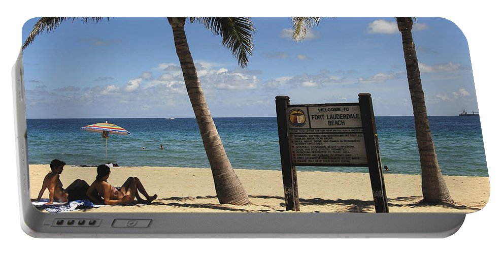 Fort Lauderdale Beach Florida Portable Battery Charger featuring the photograph Fort Lauderdale Beach by David Lee Thompson