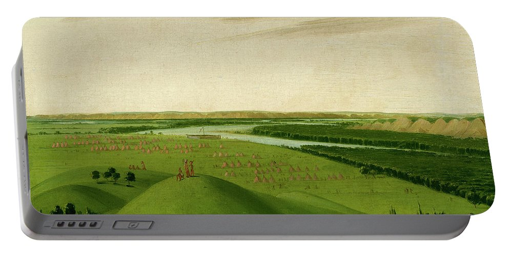 River Portable Battery Charger featuring the painting Fort Union, Mouth Of The Yellowstone River, 2000 Miles Above St. by George Catlin