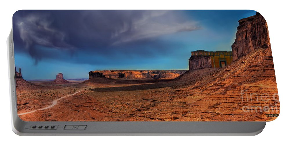Desert Portable Battery Charger featuring the painting Fortress by Corey Ford