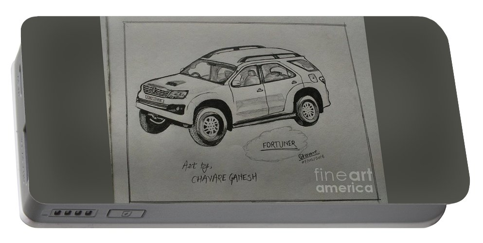 Landscape Portable Battery Charger featuring the drawing Fortuner by Ganesh Chavare