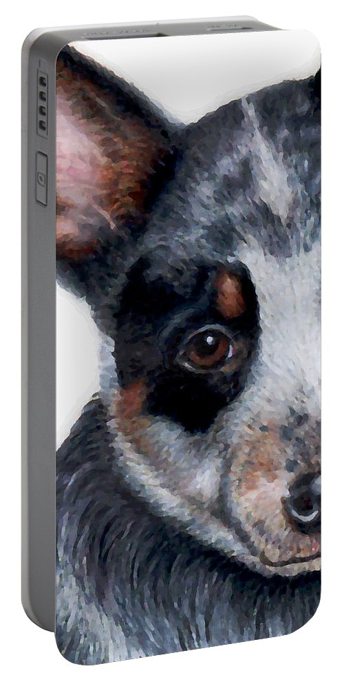 Australian Cattle Dog Portable Battery Charger featuring the drawing Foster Detail by Kristen Wesch