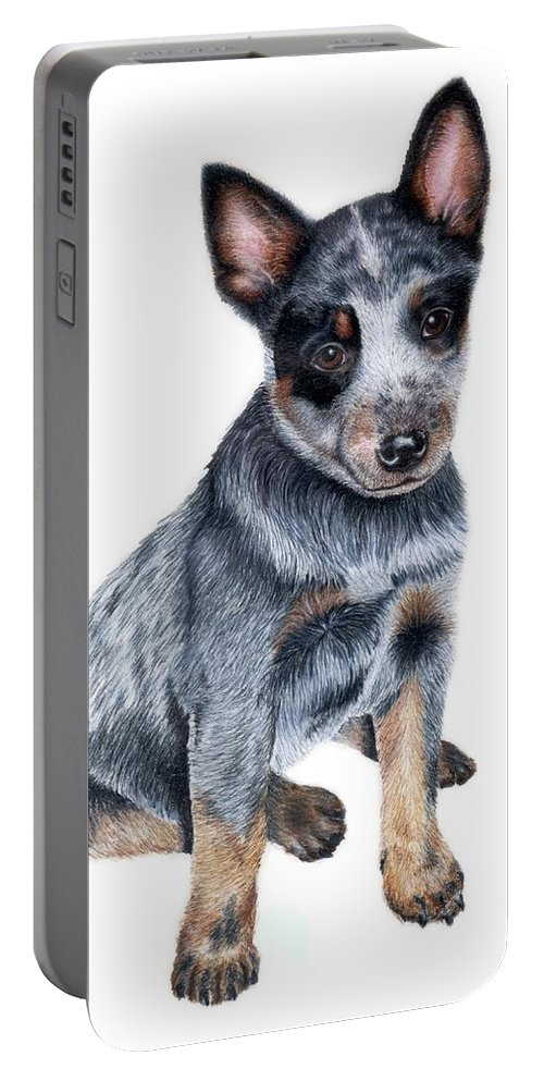 Dog Portable Battery Charger featuring the drawing Foster by Kristen Wesch