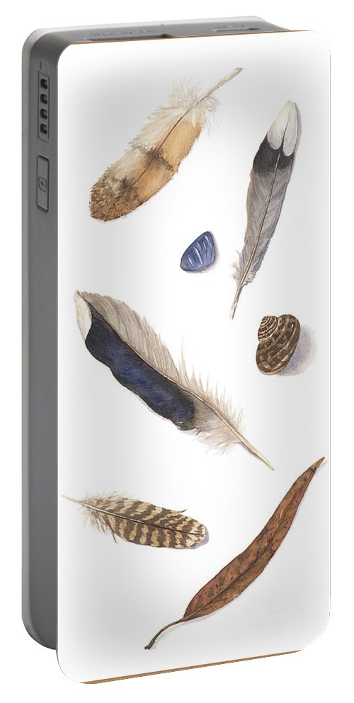 Feathers Portable Battery Charger featuring the painting Found Treasures by Lucy Arnold