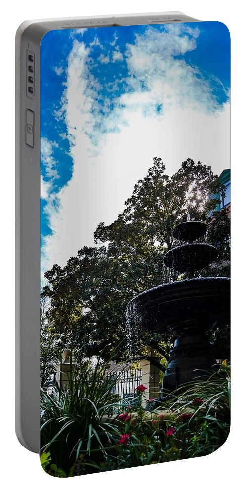 Charleston Portable Battery Charger featuring the photograph Fountain In Downtown Charleston by Angela Sherrer