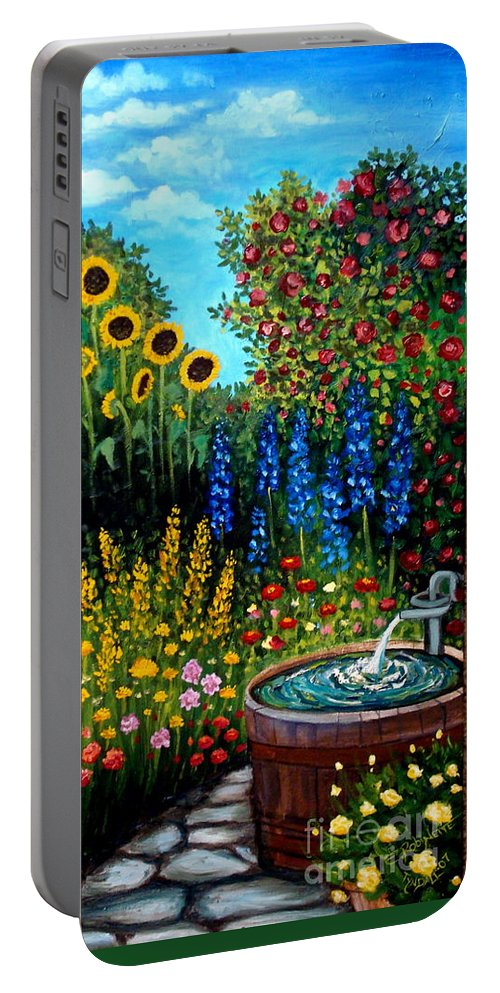 Oil Portable Battery Charger featuring the painting Fountain Of Flowers by Elizabeth Robinette Tyndall