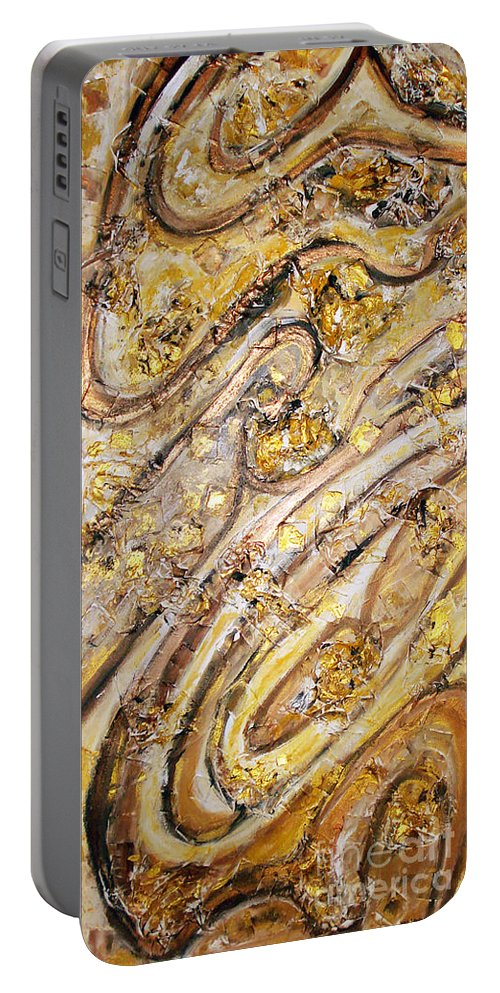 Acrylic Collage Painting Portable Battery Charger featuring the painting Fountain Of Love Every Drop Is Promising Eternal Passion by Yael VanGruber