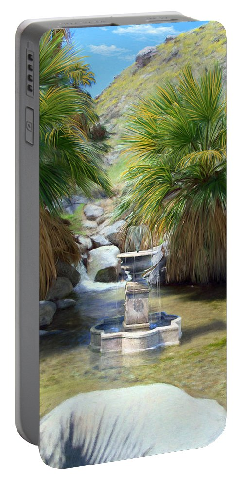 Fountain Portable Battery Charger featuring the digital art Fountain Of Youth by Snake Jagger