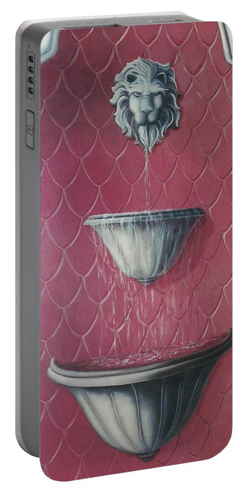 Fountain Portable Battery Charger featuring the painting Fountain Of Youth by Suzn Art Memorial