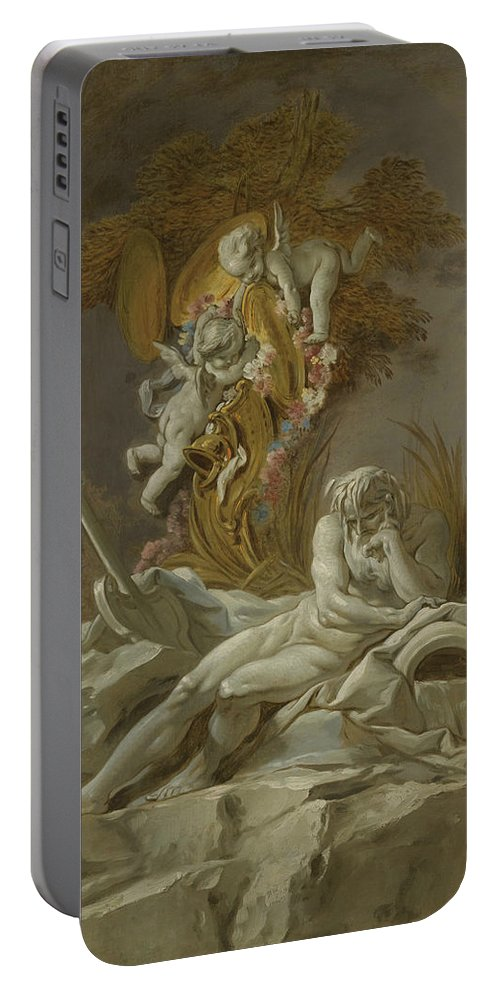 French Artist Portable Battery Charger featuring the painting Fountain Study I by Francois Boucher