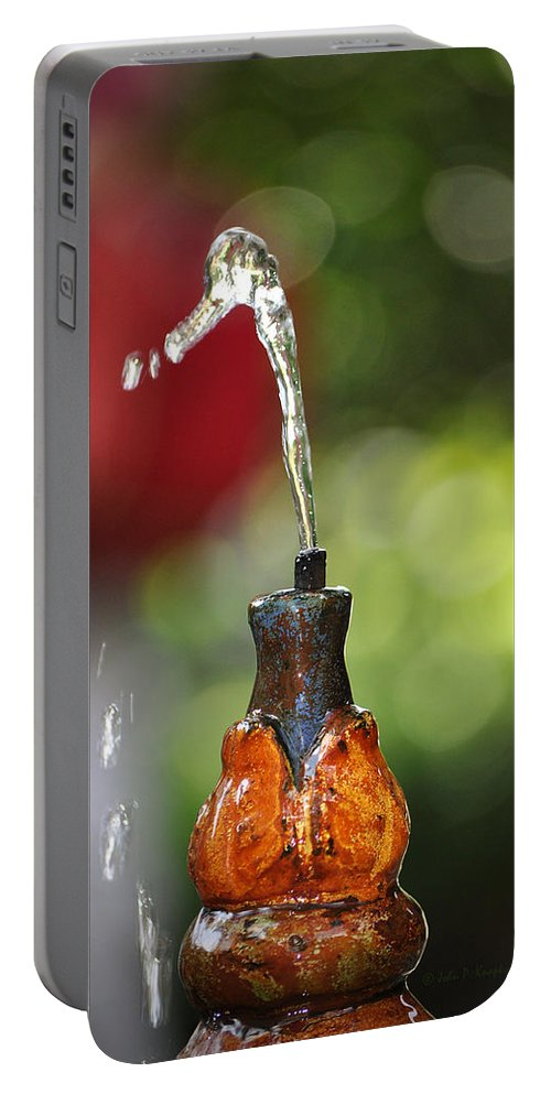 Knapko Portable Battery Charger featuring the photograph Fountain Tip by John Knapko