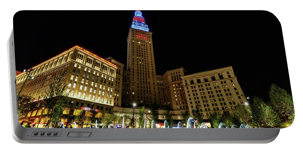 Cleveland Portable Battery Charger featuring the photograph Fountains At The Tower by Brad Hartig - BTH Photography