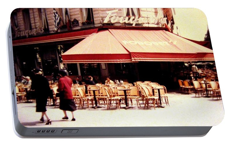 1955 Portable Battery Charger featuring the photograph Fouquets Of Paris 1955 by Will Borden
