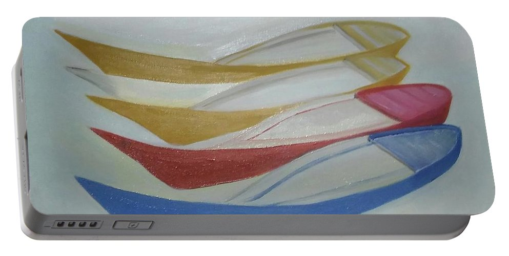 Boat Portable Battery Charger featuring the painting Four Boats And A White One by BERANIC Lovro