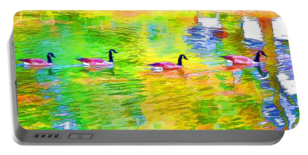 Canadian Geese Portable Battery Charger featuring the painting Four Canadian Geese In The Water 1 by Jeelan Clark
