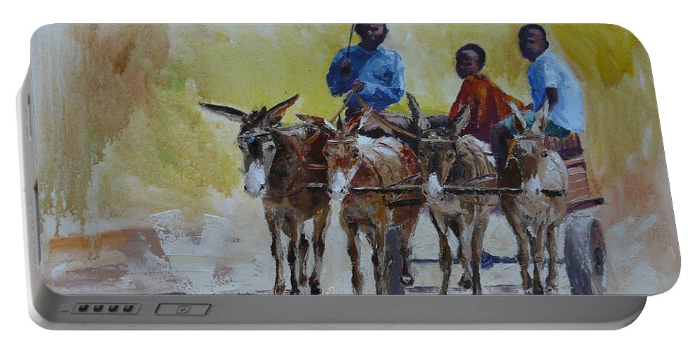 Landscape Portable Battery Charger featuring the painting Four Donkey Drawn Cart by Yvonne Ankerman