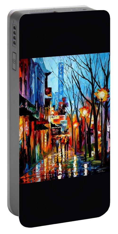 Afremov Portable Battery Charger featuring the painting Four Friends by Leonid Afremov
