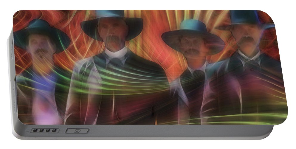 Tombstone Portable Battery Charger featuring the digital art Four Horsemen - Square Version by John Beck