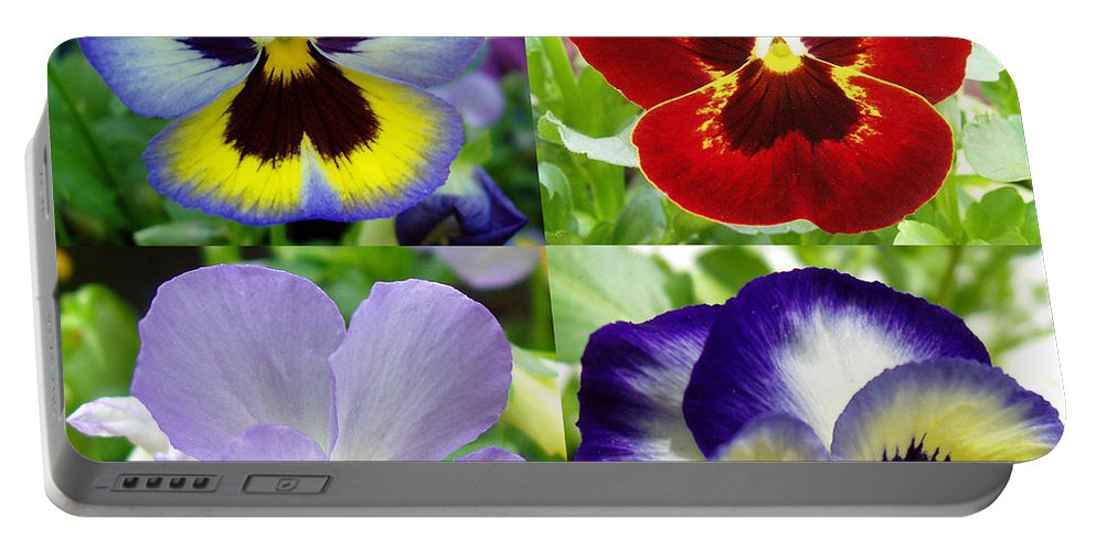 Pansy Portable Battery Charger featuring the photograph Four Pansies by Nancy Mueller