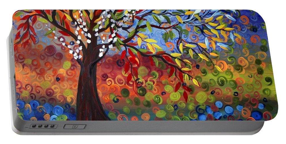 Art Portable Battery Charger featuring the painting Four Seasons by Luiza Vizoli