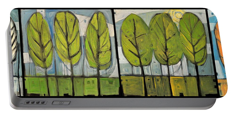 Trees Portable Battery Charger featuring the painting Four Seasons Tree Series by Tim Nyberg