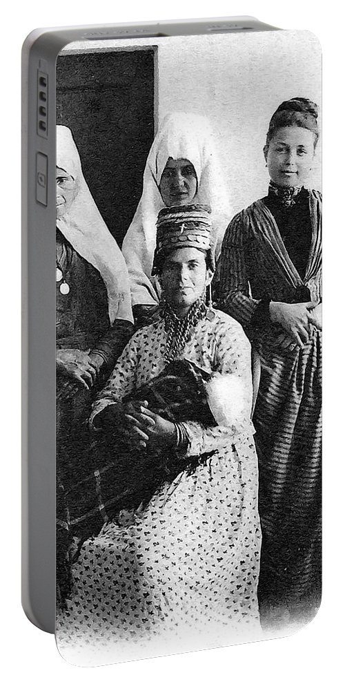 Women Portable Battery Charger featuring the painting Four Women From Bethlehem by Munir Alawi