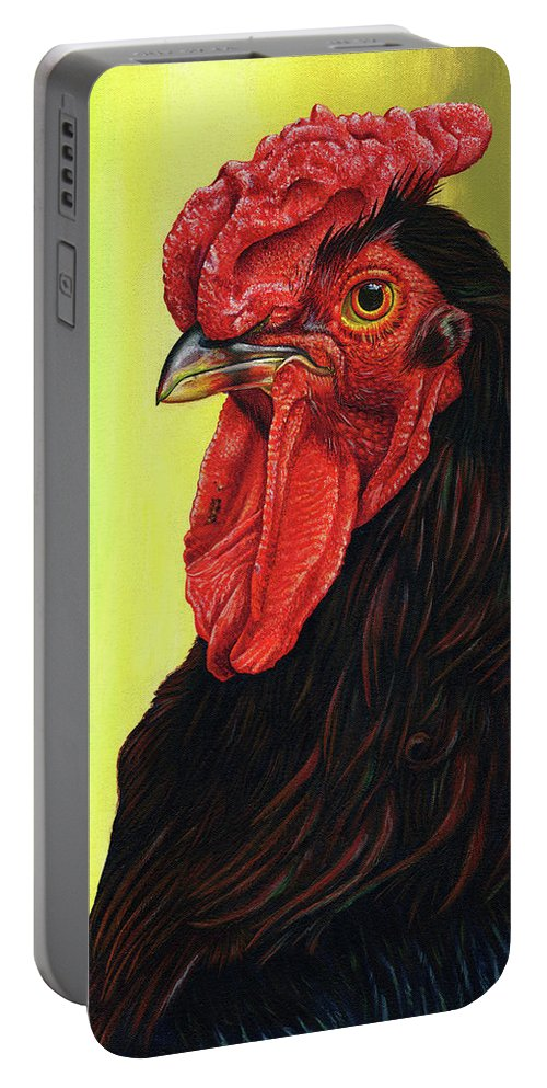 Rhode Portable Battery Charger featuring the painting Fowl Emperor by Cara Bevan