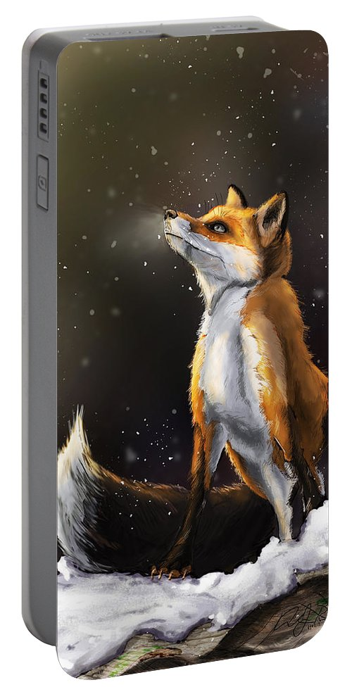 Fox Portable Battery Charger featuring the digital art Fox by Andrew Reinhart