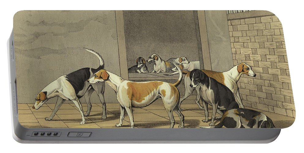 Fox Hounds Portable Battery Charger featuring the painting Fox Hounds by Henry Thomas Alken