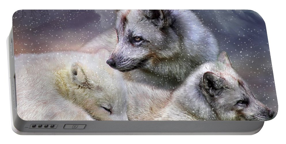 Fox Portable Battery Charger featuring the mixed media Fox Moods by Carol Cavalaris