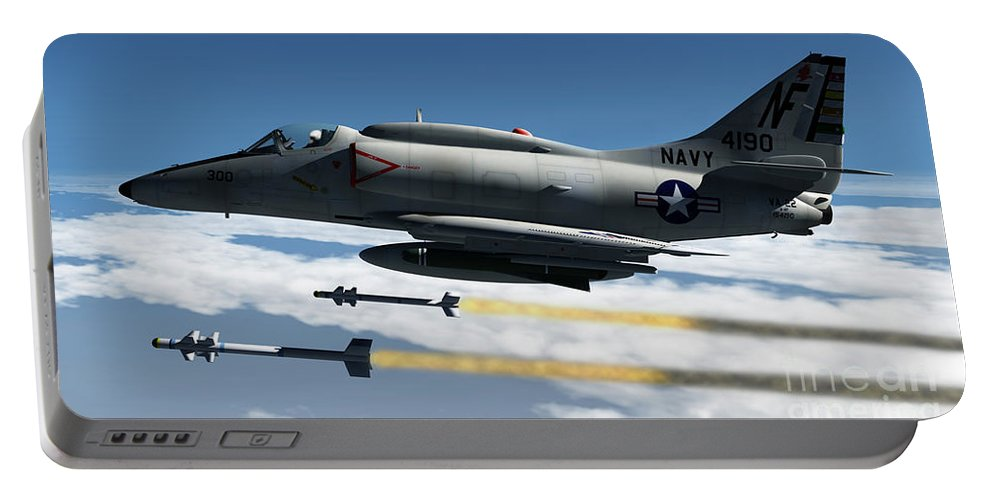 Aviation Portable Battery Charger featuring the digital art Fox Two by Richard Rizzo