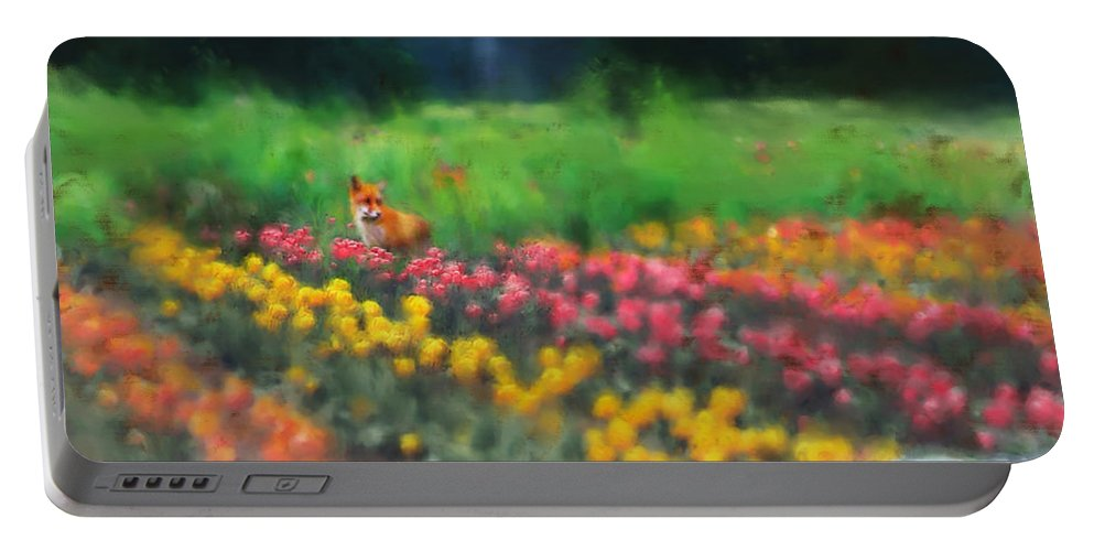 Fox Portable Battery Charger featuring the digital art Fox Watching The Tulips by Stephen Lucas