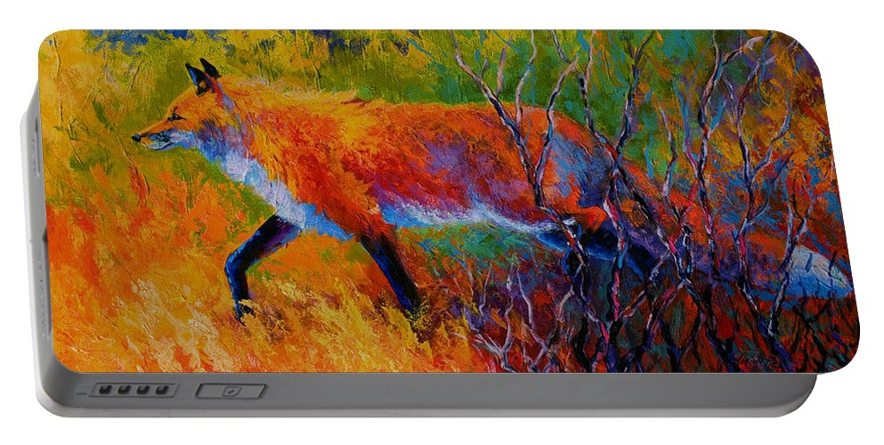 Red Fox Portable Battery Charger featuring the painting Foxy - Red Fox by Marion Rose