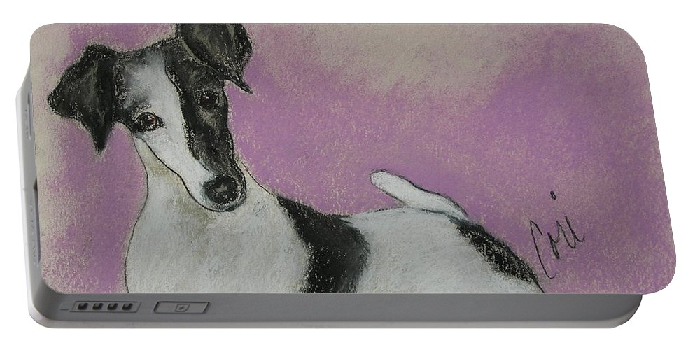 Dog Portable Battery Charger featuring the drawing Foxy by Cori Solomon