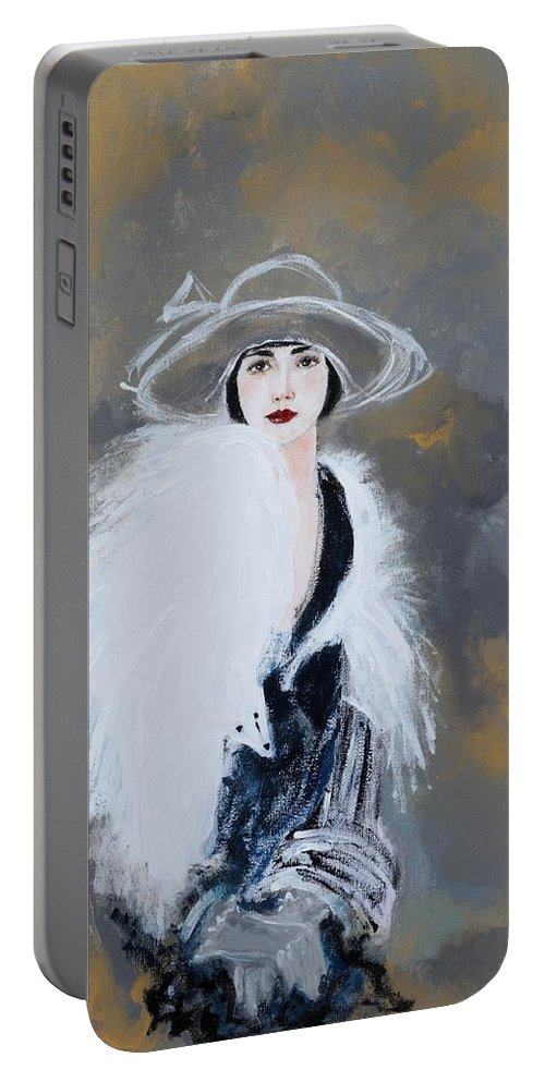 Lady With White Fur Portable Battery Charger featuring the painting Foxy Lady by Susan Adams