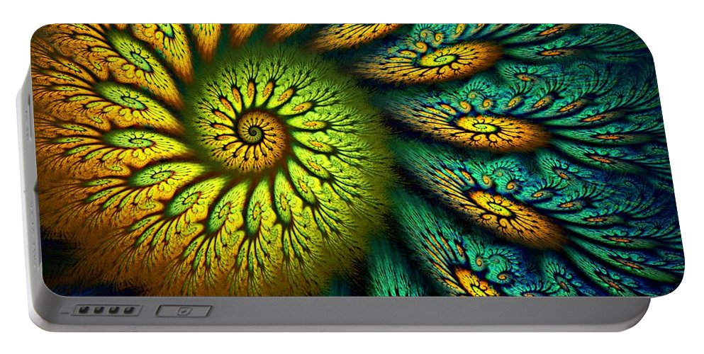 Abstract Portable Battery Charger featuring the digital art Fractal Abstract 061710 by David Lane