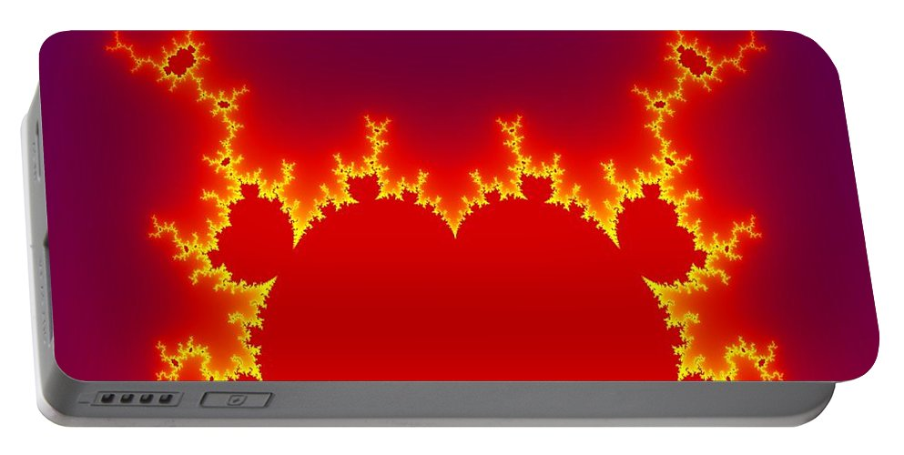 Abstract Portable Battery Charger featuring the digital art Fractal Burning Heart by Miroslav Nemecek